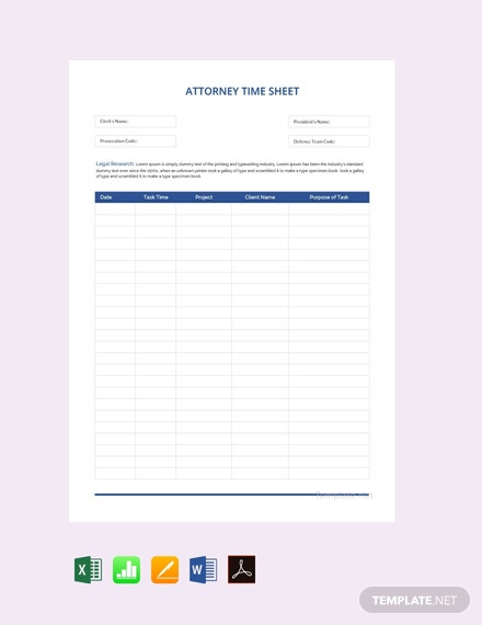 Free Lawyer Timesheet Template