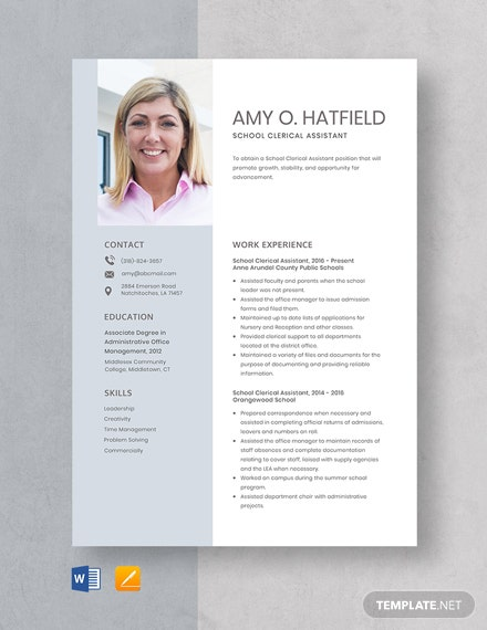 School Clerical Assistant Resume Template