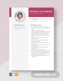 School Library Assistant Resume Template