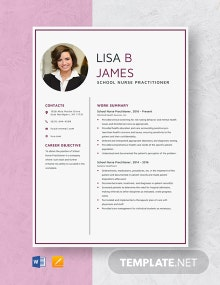 School Nurse Practitioner Resume Template