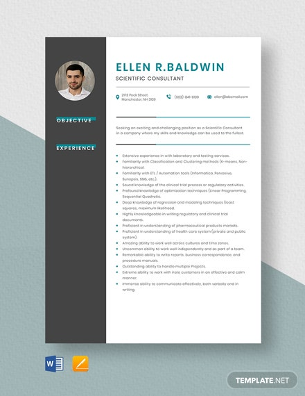Scientific Consultant Resume Template