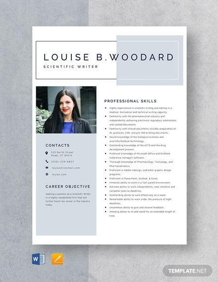 Scientific Writer Resume Template