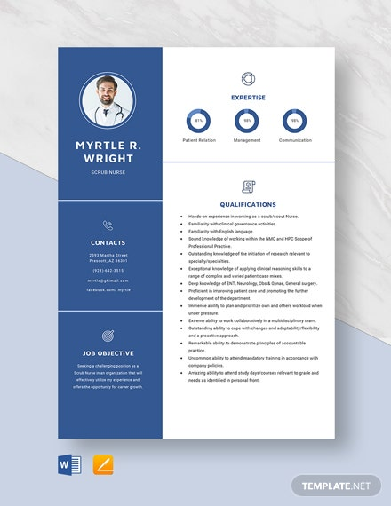 Scrub Nurse Resume Template