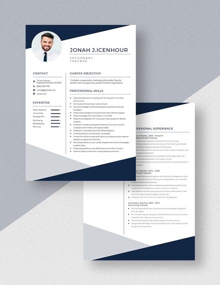 Secondary Teacher Resume Download