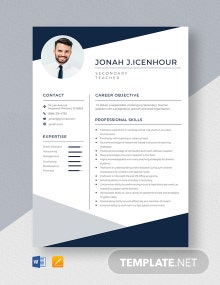 Secondary Teacher Resume Template