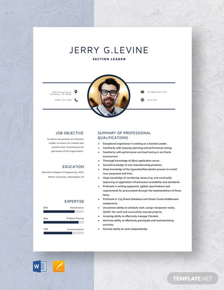 Section Leader Resume Template