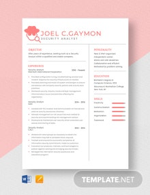 Security Analyst Resume Template