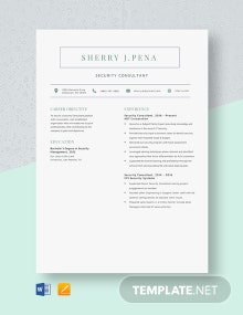 Security Consultant Resume Template