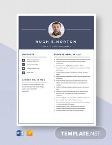 Security Field Supervisor Resume Template