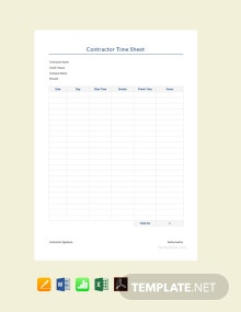 Free Sample Contractor Timesheet Template