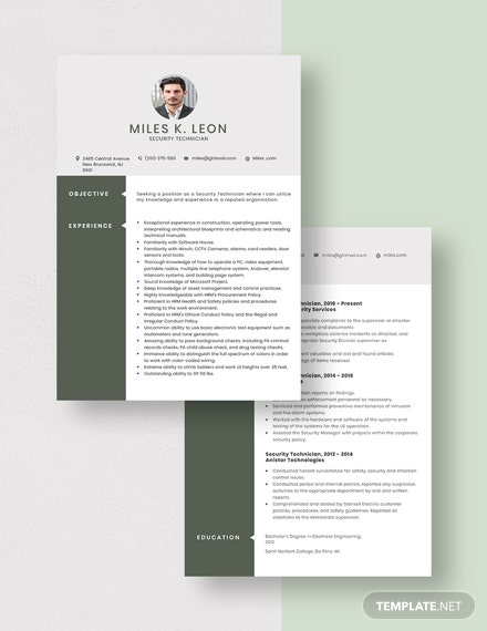 Security Technician Resume Download