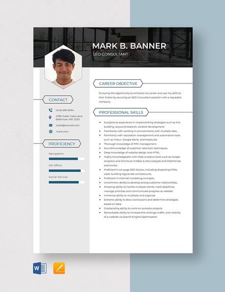 SEO Consultant Resume Template