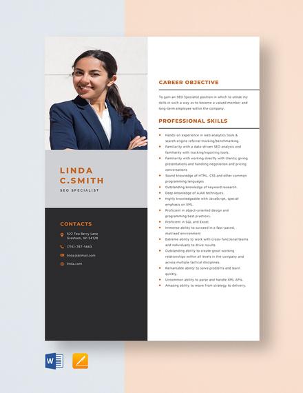 SEO Specialist Resume Template