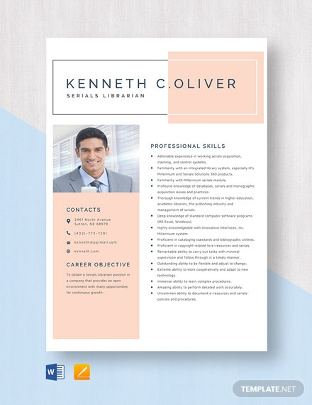 Serials Librarian Resume Template