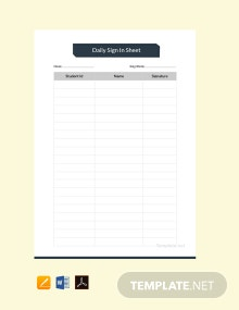 Free Daily Sign In Sheet Template