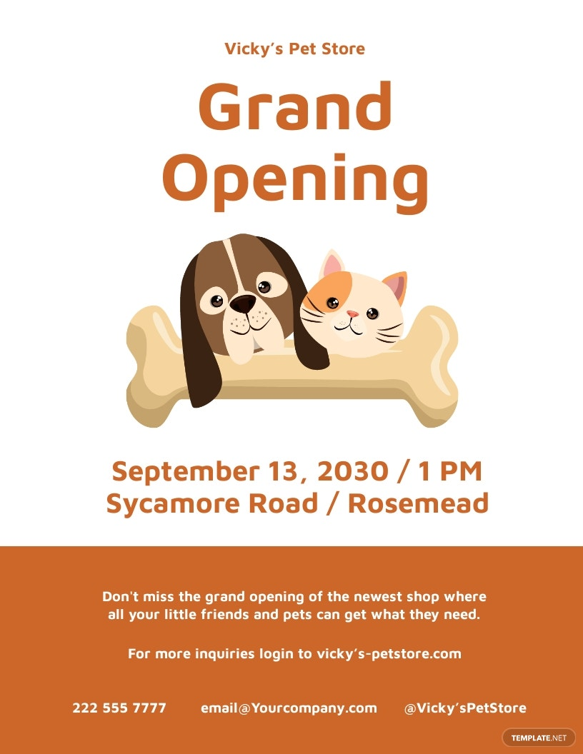 Pet Store Grand Opening Flyer Template