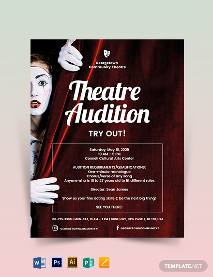 Theatre Audition Flyer Template