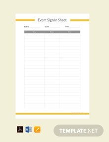 Free Event Sign In Sheet Template