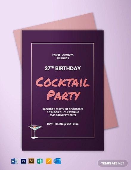 Cocktail Birthday Invitation Template