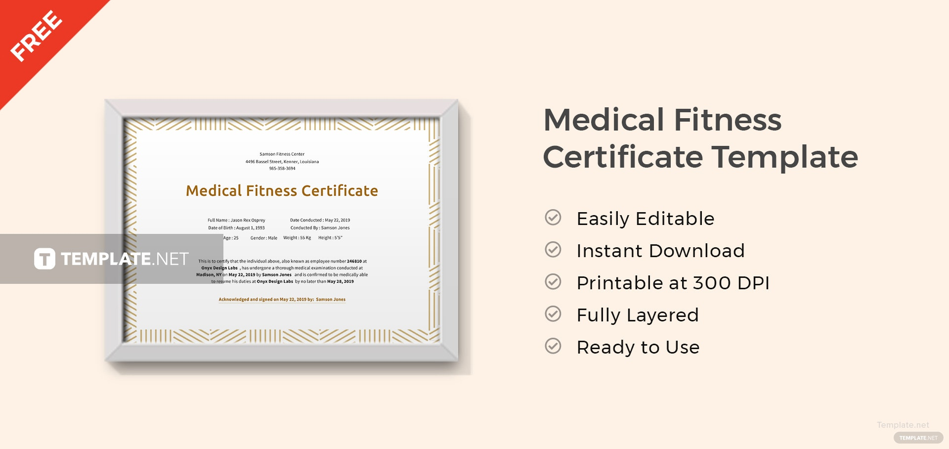 Free medical fitness certificate template in psd ms word publisher click to see full template yelopaper Gallery