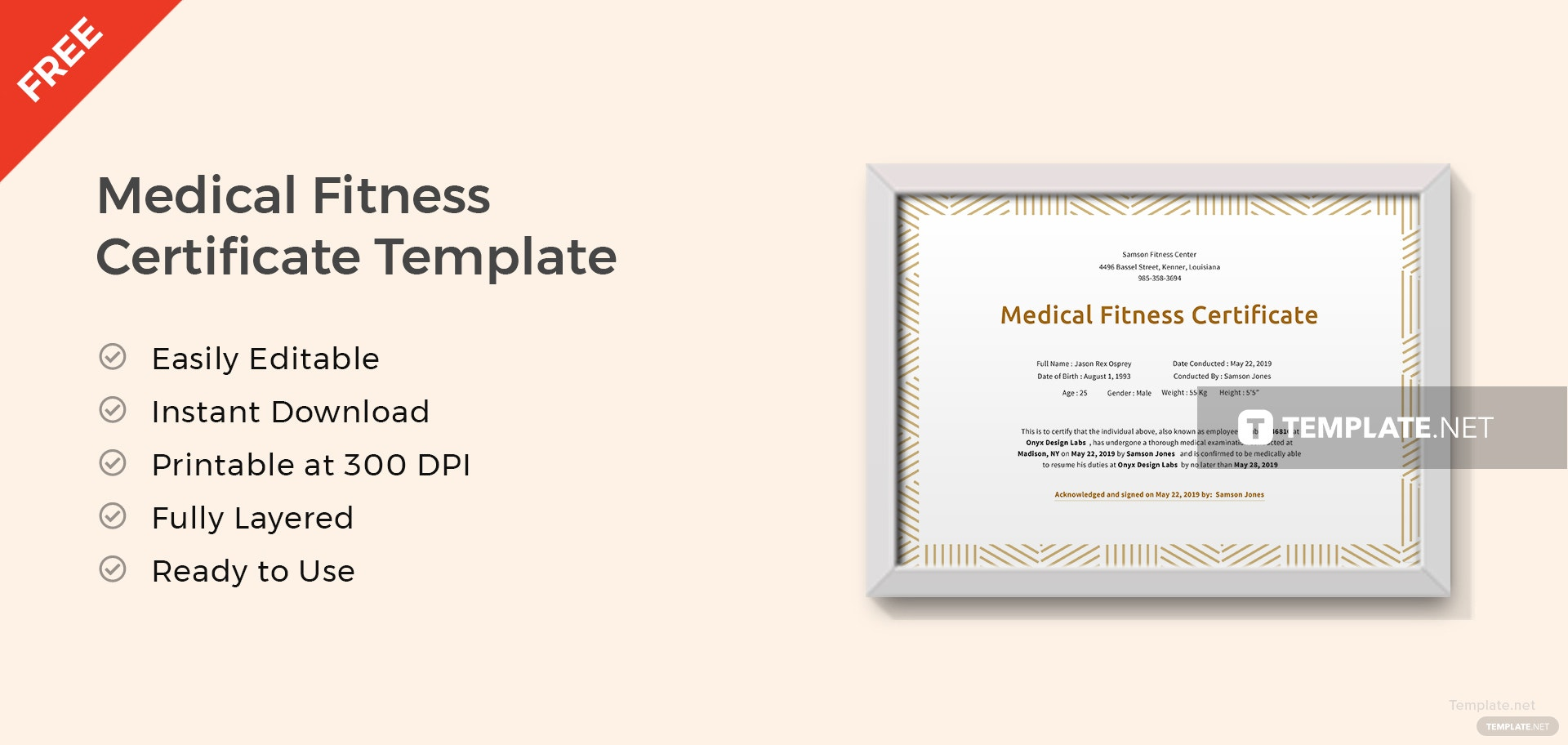 Medical Fitness Certificate Template ...