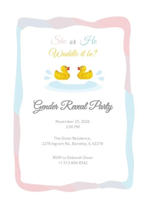 Duck Gender Reveal Invitation Template