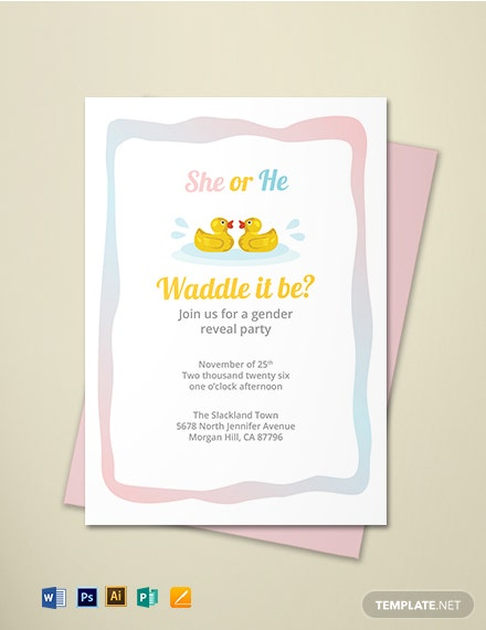 Duck Gender Reveal Invitation Template