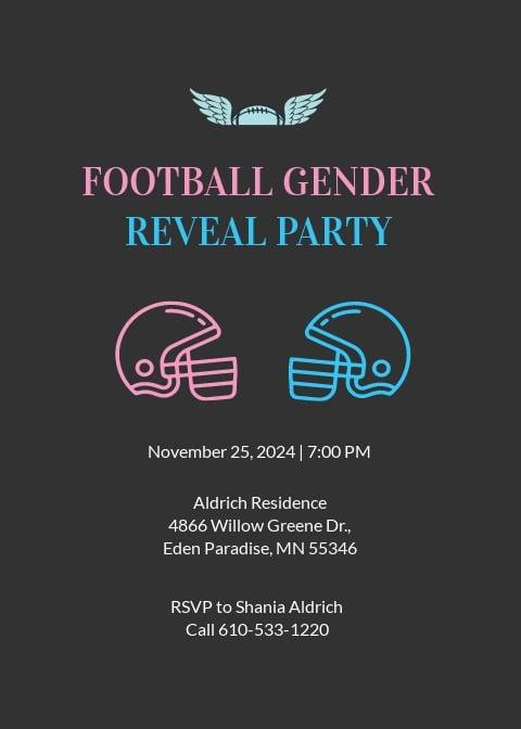 Football Gender Reveal Invite Invitation Template