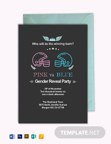 Football Gender Reveal Invite Invitation Template