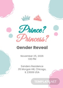 Gender Reveal Prince Or Princess Invitation Template