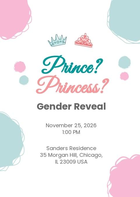 Gender Reveal Prince Or Princess Invitation Template