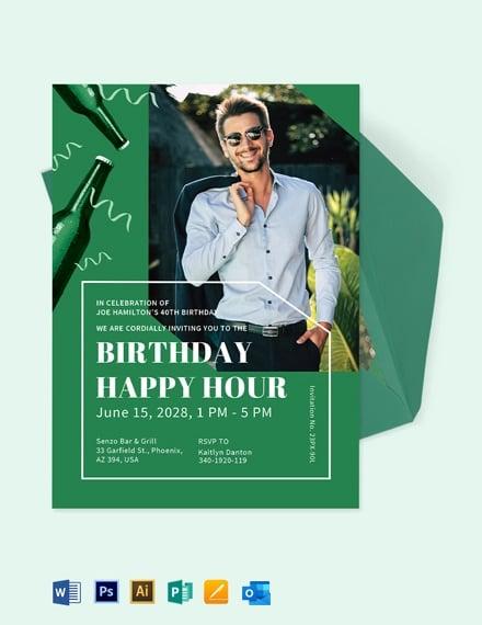 Happy Hour Birthday Invitation Template