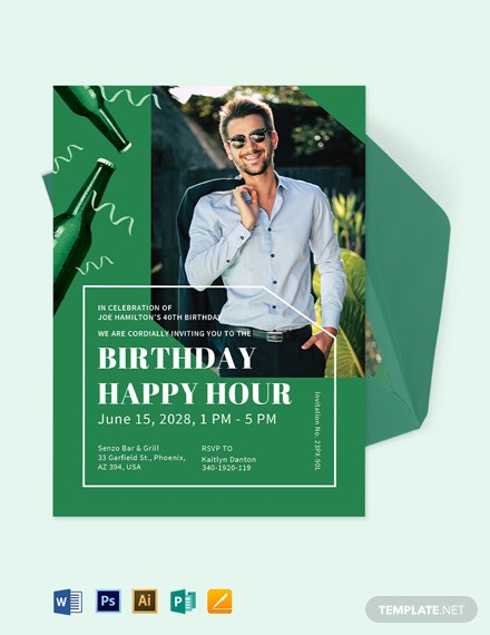 Happy Hour Birthday Invitation Template