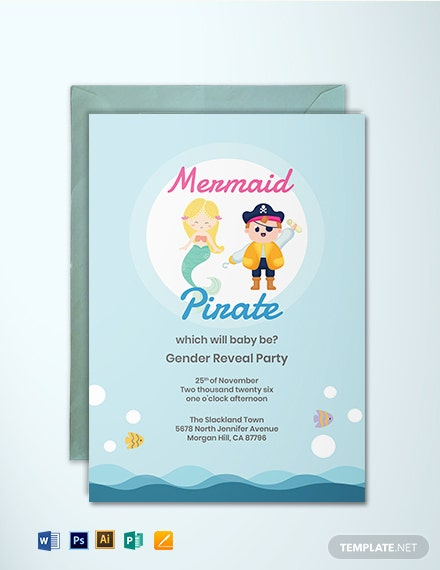 Mermaid or Pirate Gender Reveal Invitation Template