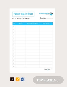 Free Patient Sign In Sheet Template