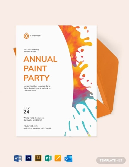 Splatter Paint Party Invitation Template