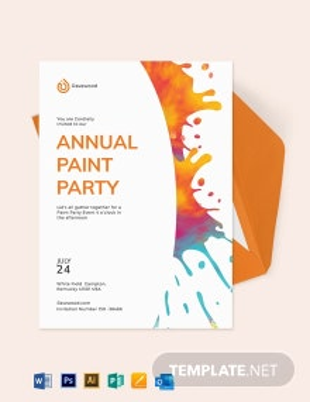 Splatter Paint Party Invitation Template