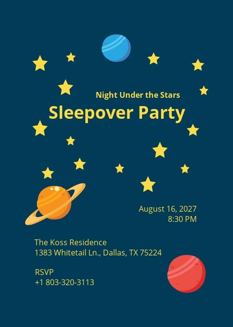 Stars Sleepover Invitation Template.jpe