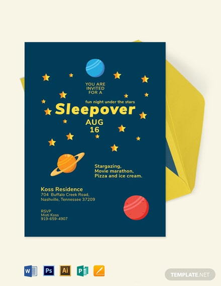 Stars Sleepover Invitation Template