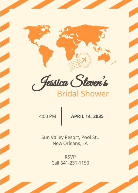Travel Bridal Shower Invitation Template