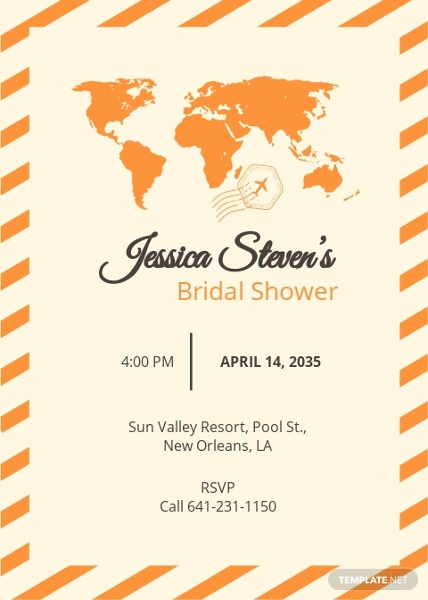 Travel Bridal Shower Invitation Template