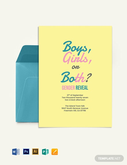 Twin Gender Reveal Invitation Template
