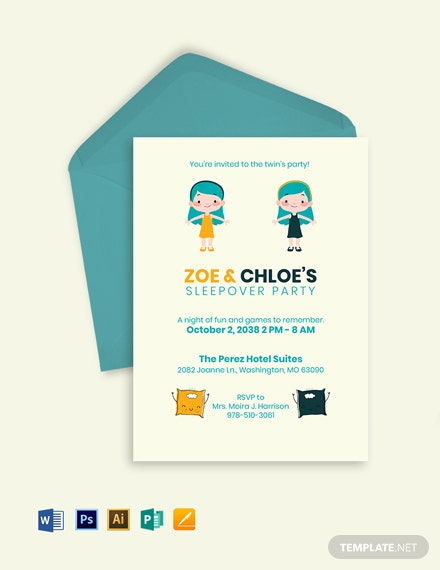 Twin Sleepover Invitation Template