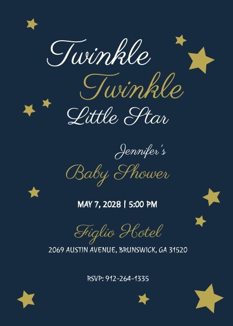 Twinkle Twinkle Baby Shower Invitation Template