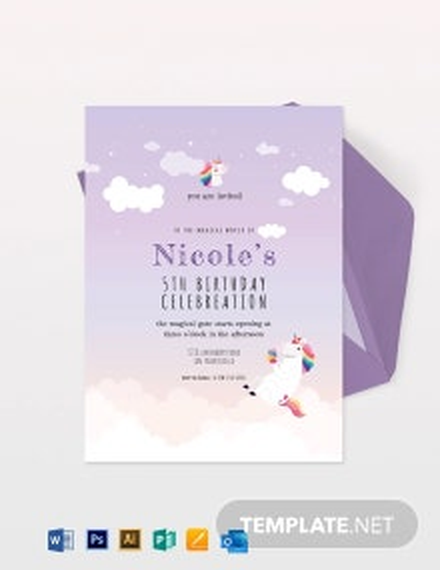 Unicorn Birthday Party Invitation Template