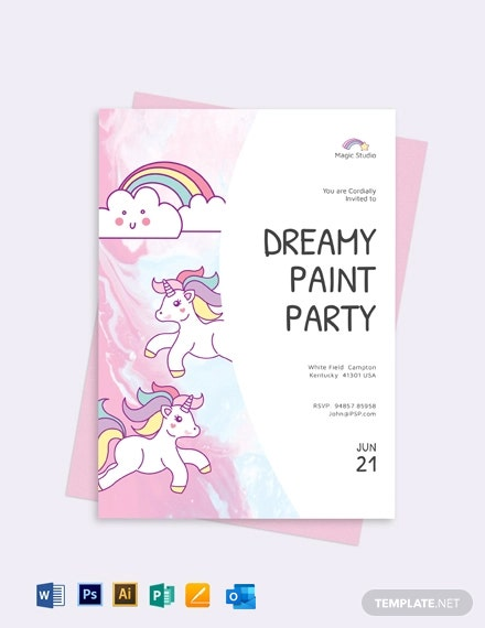 Unicorn Paint Party Invitation Template