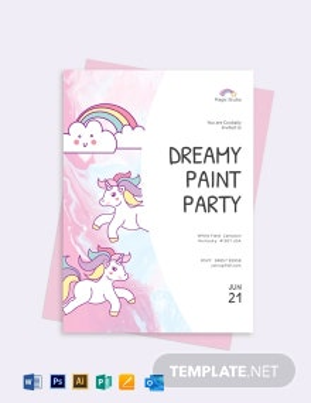 Unicorn Paint Party Invitation Template