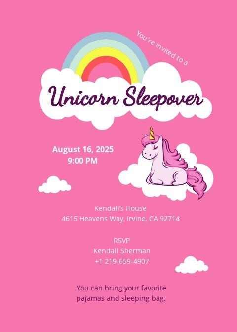 Unicorn Sleepover Invitation Template
