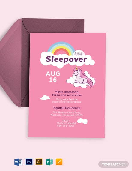 Unicorn Sleepover Invitation Template