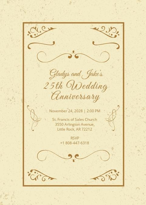 Vintage Anniversary Invitation Template